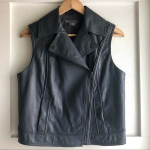 Authentic VINCE embossed gray leather moto vest. S